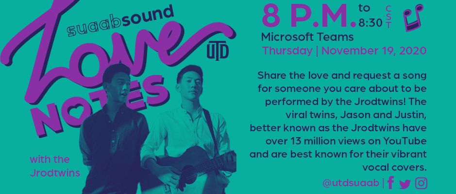Nov. 19 8 p.m. Share the love and request a song for someone you care about to be performed by the Jrodtwins.